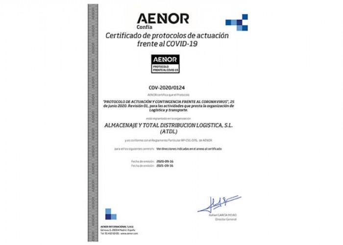 ATDL certifica su protocolo de actuación anti-Covid19